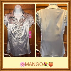 Mango think up MNG Silky half button front blouse